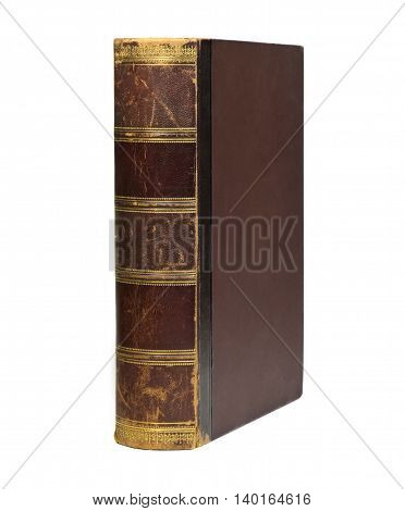 Antique book with leather spine on a white background