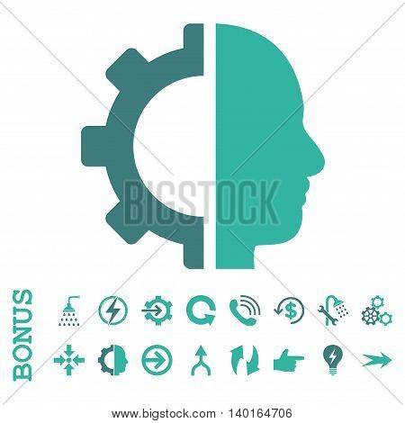 Cyborg Gear vector bicolor icon. Image style is a flat iconic symbol, cobalt and cyan colors, white background.