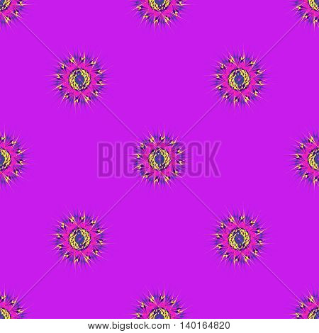 Abstract seamless pattern with bright multibeam fractal mandala on a lillac background