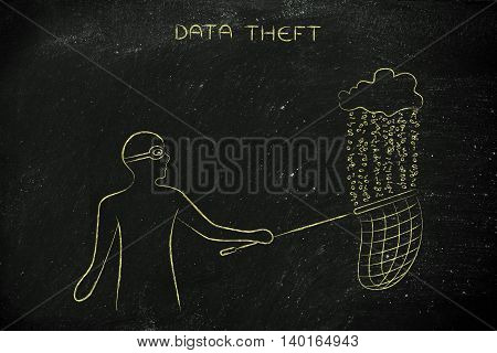 masked man stealing files falling off a cloud with binary code rain concept of data theft and unauthorized access