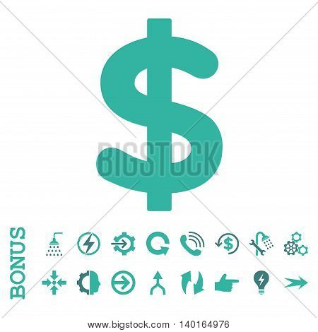 Dollar vector bicolor icon. Image style is a flat iconic symbol, cobalt and cyan colors, white background.