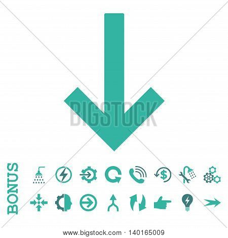 Down Arrow vector bicolor icon. Image style is a flat pictogram symbol, cobalt and cyan colors, white background.