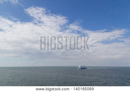 Puttgarden, Germany - July 26, 2016: A Ferry on the Baltic Sea between Puttgarden in Germany and Rodby in Denmark.