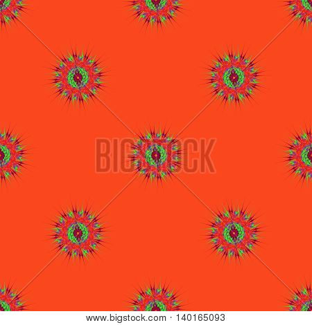Abstract seamless pattern with bright multibeam fractal mandala on a dark orange background