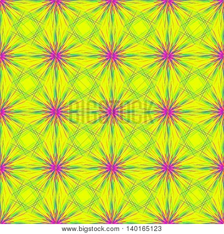 Abstract seamless pattern with multibeam furry fractal star on a bright yellow background.
