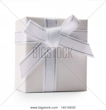 White gift box with white textile ribbon and bow