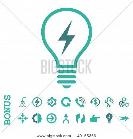 Electric Bulb vector bicolor icon. Image style is a flat iconic symbol, cobalt and cyan colors, white background.