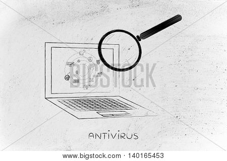 laptop being analyzed by magnifying glass for viruses or other threats concept of antivirus system scan
