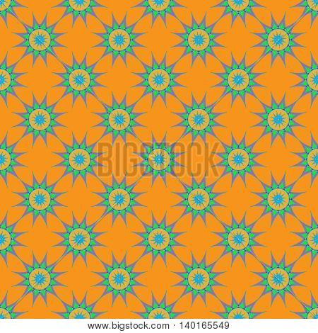 Abstract seamless pattern with fractal star on orange background.