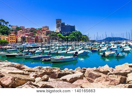 beautiful places of Italy - colorful Lerici in Liguria, view with castle