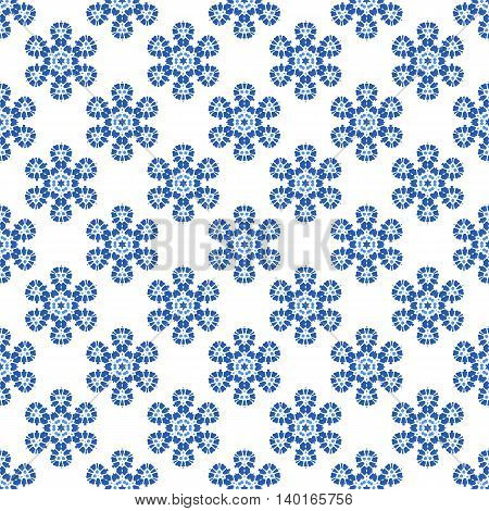 Seamless Blue Snowflake Pattern. Geometric Ornamental Background