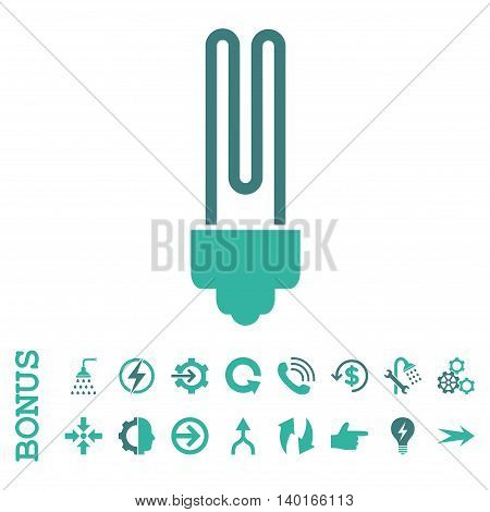 Fluorescent Bulb vector bicolor icon. Image style is a flat pictogram symbol, cobalt and cyan colors, white background.