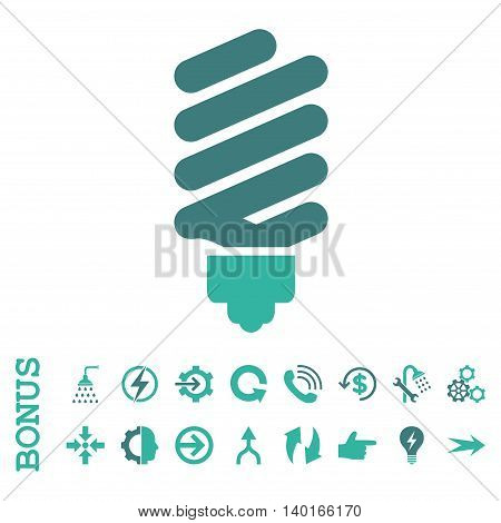 Fluorescent Bulb vector bicolor icon. Image style is a flat iconic symbol, cobalt and cyan colors, white background.
