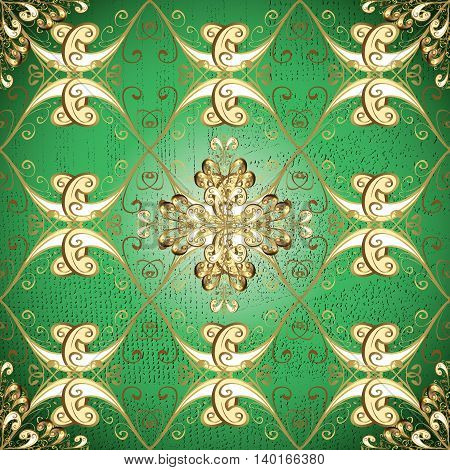 Vintage pattern on green gradient background with golden and white elements.