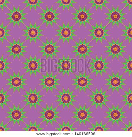 Abstract seamless pattern with fractal star on lillac background.