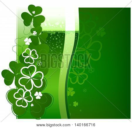 St. Patricks Day green beer. Vector illustration