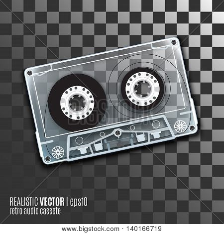 Retro audio cassete, vector illustration with a transparent body