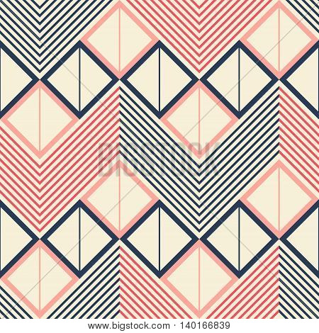 Seamless geometric pattern of horizontal zigzag. Squares divided into two triangles inside giant zigzag and chevron lines. Pleasant retro color palette. Vector illustration for stylish creative design