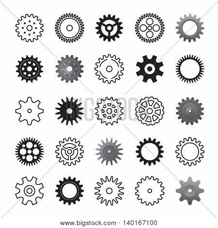 Set of Black Gears. Vector Illustration and Icons.