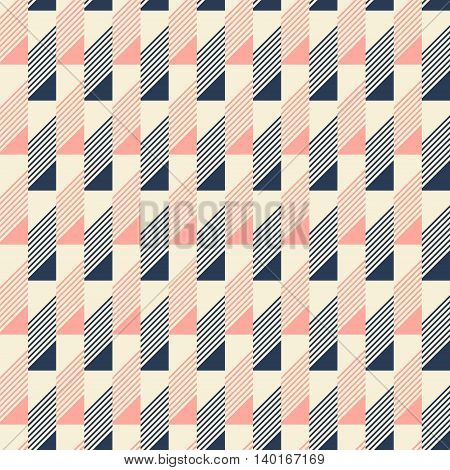 Abstract seamless pattern in pleasant retro color palette. Narrow rectangular tiles with triangles and diagonal lines inside. Vector illustration for fabric, paper and other