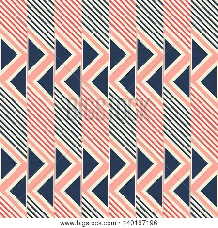 Abstract seamless pattern of diagonal lines and triangles. Geometric print in pleasant retro color palette. Vector illustration for creative design