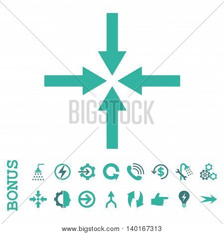 Impact Arrows vector bicolor icon. Image style is a flat iconic symbol, cobalt and cyan colors, white background.