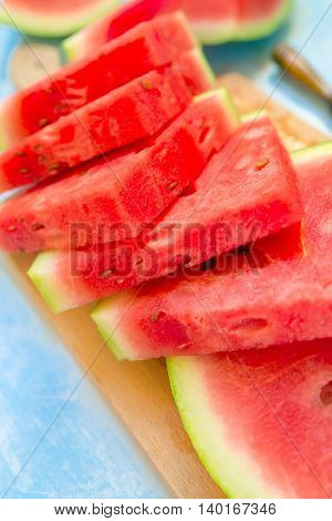 Healthy and tasty ripe watermelon cuts on table selective focus