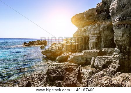 25 may 2016. Cape Greco. Views of the sea caves and cliffs of Cape Greco at sunset. Cyprus.
