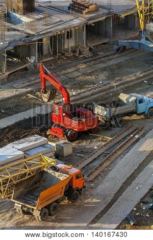 Machines Working On A Building Site.