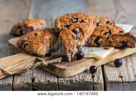 Skones From Whole Wheat Flour And Black Currant.