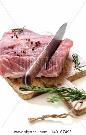 Meat With Spices And Knife.