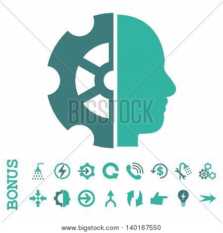 Intellect vector bicolor icon. Image style is a flat pictogram symbol, cobalt and cyan colors, white background.