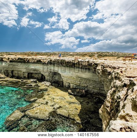 25 may 2016. Cape Greco. Views of the sea caves and cliffs of Cape Greco . Cyprus.