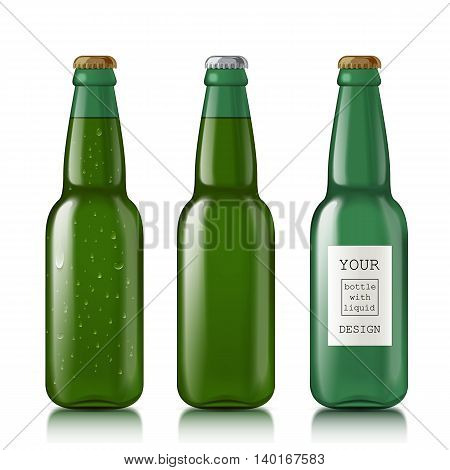 Green bottle with water drops. Set empty glass bottles with template design. Mock Up Ready For Your Design. Isolated On White Background. illustration