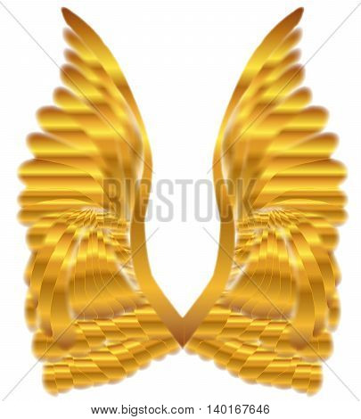 A large pair of golden angelic wings over a white background