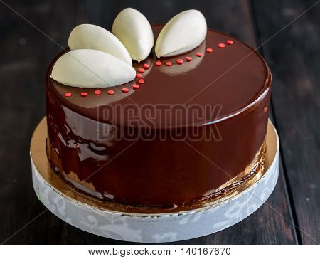 Mousse Cake With Chocolate Glaze.