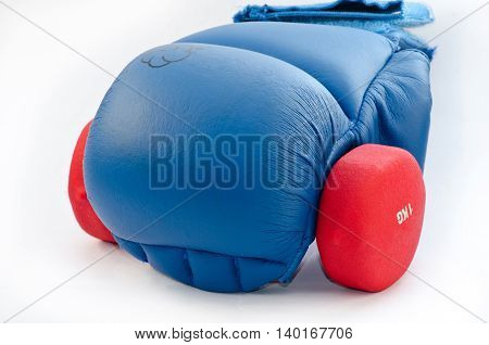 blue glove for combative with red dumbbells