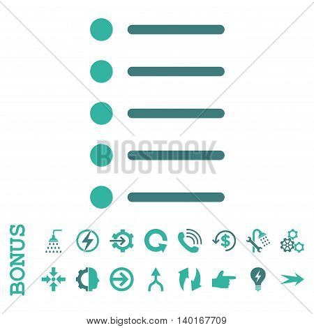 Items vector bicolor icon. Image style is a flat pictogram symbol, cobalt and cyan colors, white background.