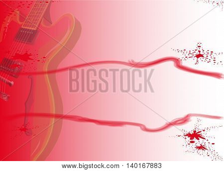 A red electric guitar over a red fading background