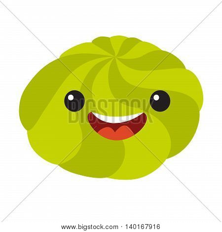 Fun wasabi vector cartoon character. Cute wasabi's faces for sushi. Happy sushi characters icon vector illustration isolated on white background