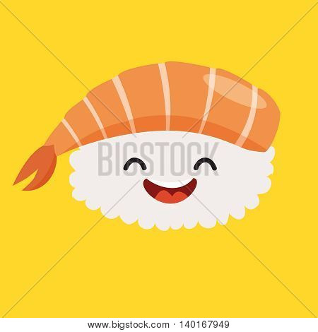 Fun sashimi vector cartoon character. Cute sashimi's faces with shrimp japanese food. Happy sushi characters vector illustration isolated on white background