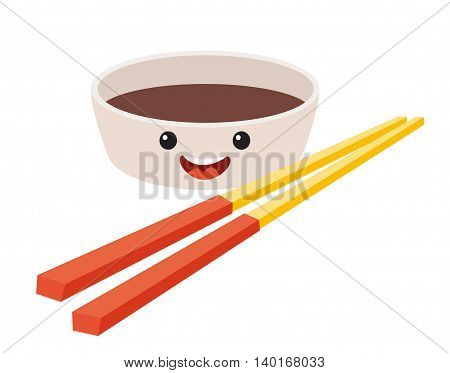 Fun Soy sauce vector cartoon character. Cute Soy sauce's faces with chopstick tai food. Happy sushi characters vector illustration isolated on white background