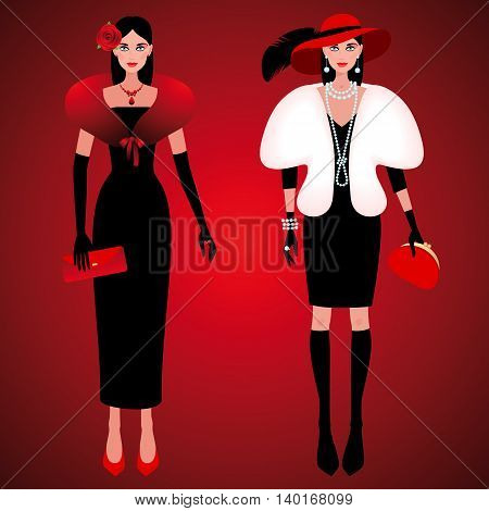 Set of cute fashionable girls on the evening of luxury glamor clothes. The stylish little black dress hat feather clutch bag pearls. Vector illustration of people isolated on red background.