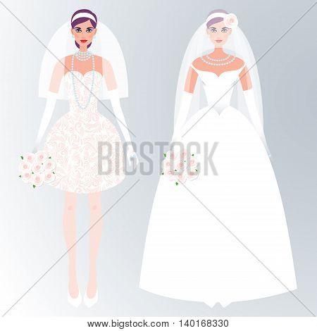 Cute girls in a wedding dress. Holiday vector illustration. Fashion white bride dress on a white background. The concept of the modern wedding dress and accessories.