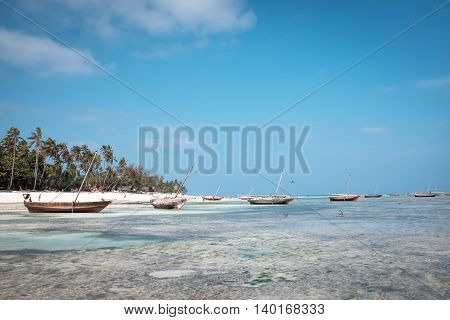 Exotic tropic vacation on sea paradise beach palms