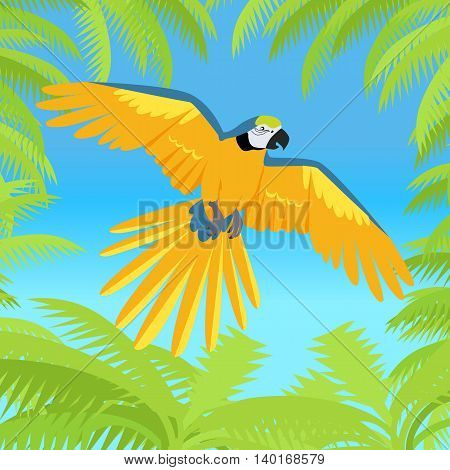 Flying colorful Ara parrot in jungle for posters, childrens books illustrating.