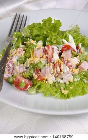plate of salad with ham and egg and vegetables flavored milk sauce