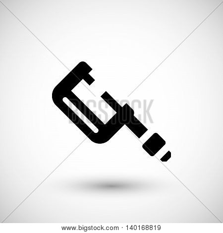 Modern micrometer icon isolated on grey. Vector illustration