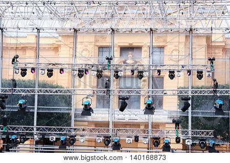 preparing stage with lights for live concert.