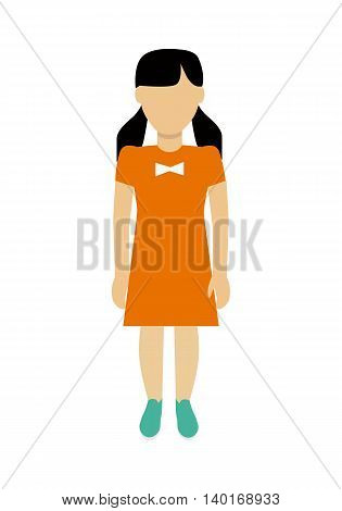 Child character without face in orange dress vector in flat design. Girl template personage figure illustration for child concepts, fashion app, logos, infographic. Isolated on white background.